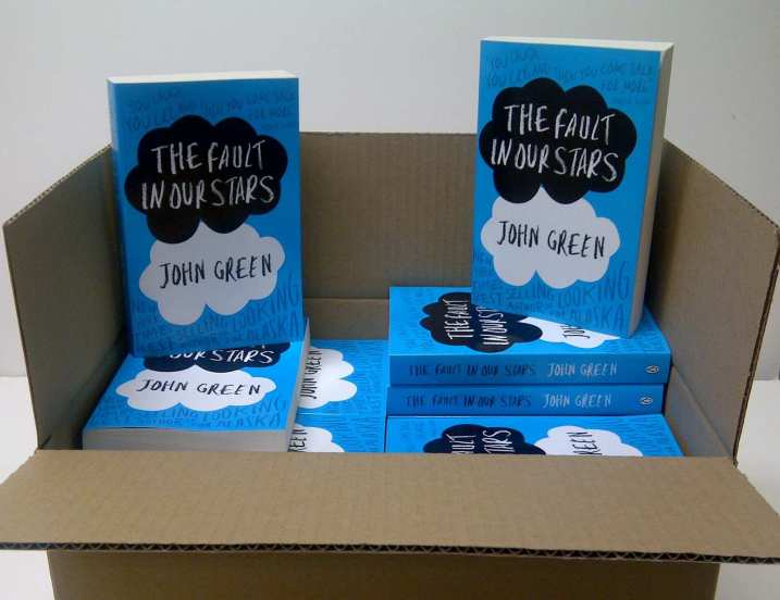 The first batch of prints of John Green's TFiOS during release day